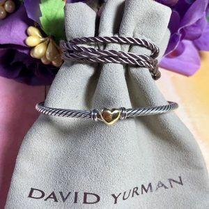 ❤️ David Yurman - Heart Bracelet with 18K Gold 3mm